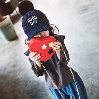 七夕礼物女孩斜挎包儿童包心形可爱小包包链条包时尚百搭款公主包女童包潮 红色