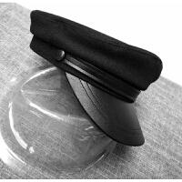 秋冬季男女士鸭舌帽皮帽檐学生帽平顶帽帅气黑色小头海军帽毛呢帽