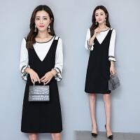 2017秋装新款韩版时尚百搭大码女装显瘦中长款套装连衣裙