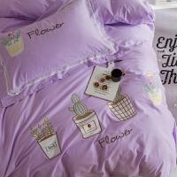 刺绣蕾丝边棉三四件套仙人掌盆栽图案长绒棉棉紫色床上用品 仙人掌90