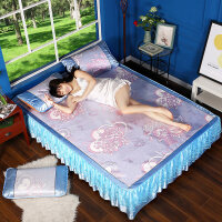 夏季凉席冰丝席1.8m床可折叠冰丝凉席床裙三件套1.5米空调草席子