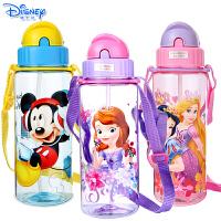 Disney迪士尼儿童宝宝耐摔防漏塑料杯卡通时尚420ML透明吸管水杯