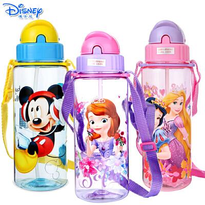 Disney迪士尼儿童宝宝耐摔防漏塑料杯卡通时尚510ML透明吸管水杯