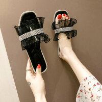 户外时尚女士拖鞋休闲舒适平底鞋蕾丝百搭女鞋ins潮