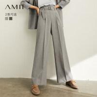 【到手价:159元】Amii极简洋气职业休闲西装裤子女2019秋季新款高腰配腰带阔腿裤