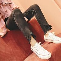 高腰九分黑色牛仔裤2019秋新款女士韩版学生修身显瘦流苏直筒裤子
