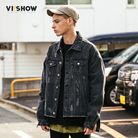 VIISHOW2017秋装新品做旧牛仔夹克男口袋装饰男士外套夹克衫上衣