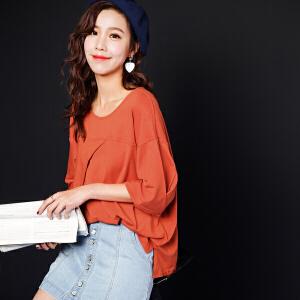 小心机上衣女韩版学生宽松bf夏2017新款不对称圆领纯色七分袖T恤