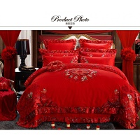 家纺婚庆床上用品纯棉贡缎提花八件套十件套全棉婚庆床品