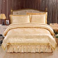 家纺全棉床罩床裙四件套纯棉欧式贡缎提花婚庆被单夹棉加厚床套床笠款 2.0m床 加厚款床裙四件套
