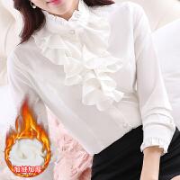韩范职业白色加绒衬衫女长袖雪纺大码荷叶边打底衬衣2018春装新款 S 80-89