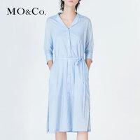 MOCO简约开衩长裙摆衬衣连衣裙两件套MA172DRS136
