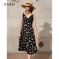 Amii极简V领吊带连衣裙2021夏季新款碎花雪纺印花修身收腰女裙子