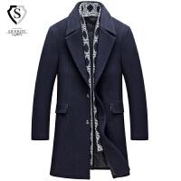 羊毛呢子风衣男中长款韩版青中年修身冬季帅气百搭30妮子大衣加厚