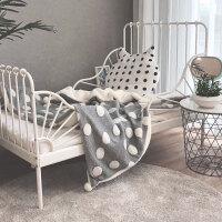 家纺冬季加厚珊瑚绒毛毯双层法兰绒披肩毯沙发盖毯车用毯子小毛毯盖腿 灰色 波尔卡 120*150