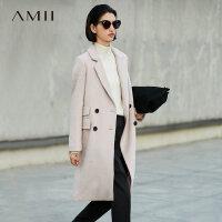 【5折价:330元/再叠优惠券】Amii[极简主义]通勤帅气羊毛呢外套女2017冬装新纯色宽松长大衣