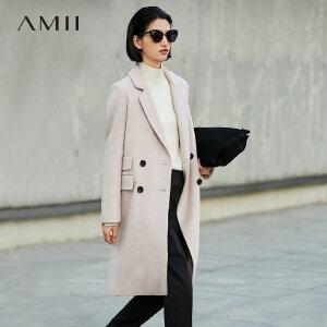 Amii[极简主义]通勤帅气 羊毛呢外套女 2017冬装新纯色宽松长大衣