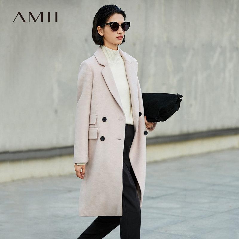 【到手价311元】Amii极简时尚潮帅气羊毛毛呢外套女2018冬新纯色宽松加厚长款大衣.