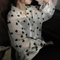 韩版宽松中长款薄款桃心女士衬衫新款防晒雪纺衬衣女 白色 均码