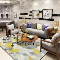 北欧风格简约几何图案条纹地毯客厅茶几地毯卧室满铺书房床边地毯 米白色 几何黄方块