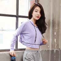 韩版运动开叉露腰套头衫跑步瑜伽健身服女士短款拉绳外套