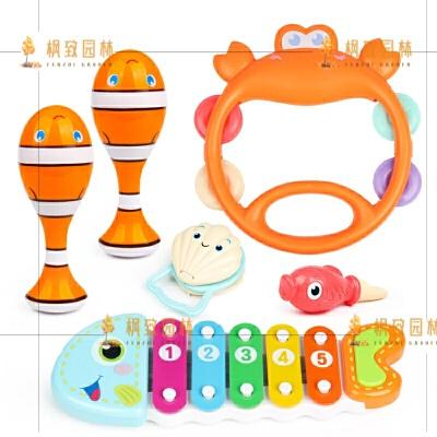 新生6-12个月婴儿玩具宝宝手摇铃0-1岁小孩女孩幼儿抓握训练3 乐器组合ABS材质