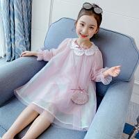 女童连衣裙春装儿童裙子长袖公主裙时尚小女孩网纱裙