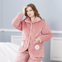 夹棉睡衣 冬季女式长袖家居服加绒加厚三层夹棉睡衣套装 -粉R