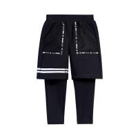 【2件5.5折到手价:74】小猪班纳童装男童长裤假两件2019春装新款男童休闲裤子