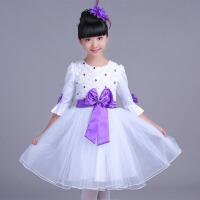儿童长袖主持礼服 女童公主裙舞蹈蓬蓬纱裙少儿大合唱跳舞裙 紫 色