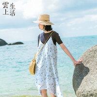 【限时抢购】云上生活女装中长款连衣裙夏气质碎花吊带裙子L8730