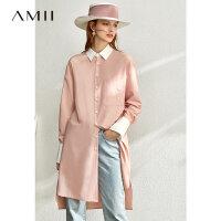 【到手价:182元】Amii极简清新色调长款衬衫女2020春撞色前短后长开衩宽松衬衣
