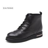 Daphne/达芙妮英伦系带女鞋 时尚布洛克舒适真皮靴10 607066
