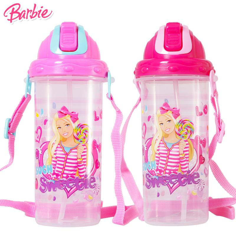 Barbie芭比儿童吸管杯带背带冷饮杯卡通夏天安全塑料水杯吸管杯子