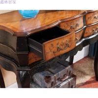 新款欧式法式新古典家具 雕花彩绘梳妆台 欧式妆台边桌 书桌实木