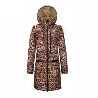 秋冬女士中长款羽绒服加厚连帽 韩版修身显瘦豹纹外套潮 深咖啡 175/XL