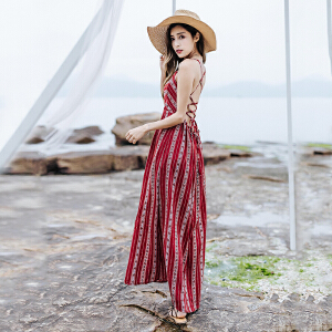 RANJU 然聚2018女装夏季新品新款泰国度假复古系带i波西米亚吊带开叉露背连衣裙