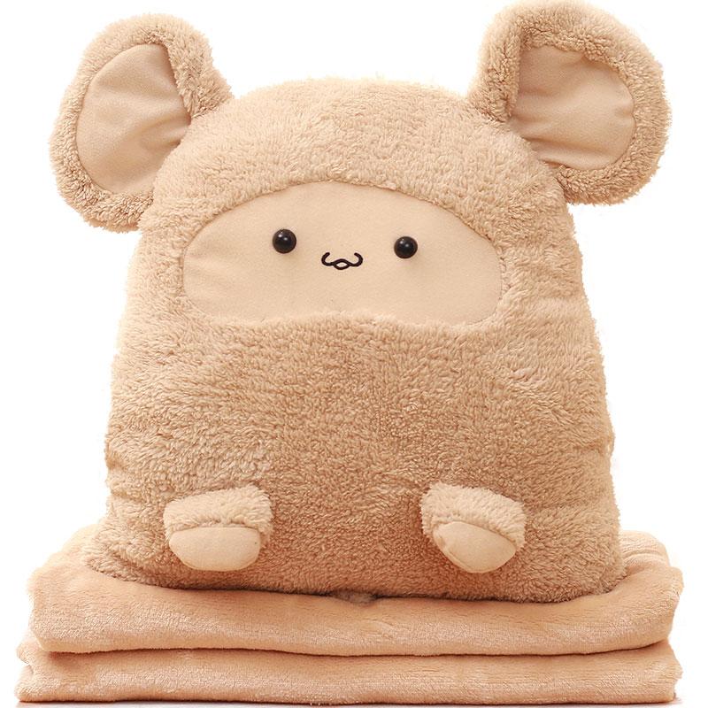 玩具卡卡鼠三用暖手抱枕毯子三合一可爱仓鼠两用暖手捂空调毯 三用抱枕毯(约1.6X1米毯可拆洗)