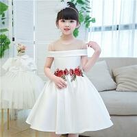儿童礼服公主裙一字肩女孩演出服婚纱蓬蓬裙钢