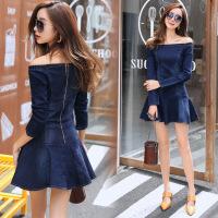 年秋季连衣裙一字领长袖时尚气质修身韩版百搭短裙甜美优雅 蓝色