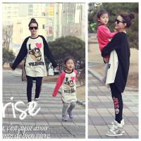 男女童春装新韩国童装卡通纯棉长袖T恤+打底裤大童套装亲子装