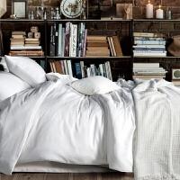 家纺欧美风纯色四件套全棉纯棉简约素色双人单色床单素色2.0m床上用品 白色 贵族白(赤白)