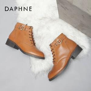 Daphne/达芙妮时尚美靴 休闲英伦圆头系带方根马丁女靴