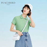 太平鸟绿色短袖POLO领冰丝针织衫女2019夏装新款时尚打底衫夏季薄