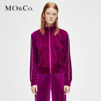 MOCO冬季新品撞色辑边立领拉链丝绒宽松外套女MA184JKT201 摩安珂