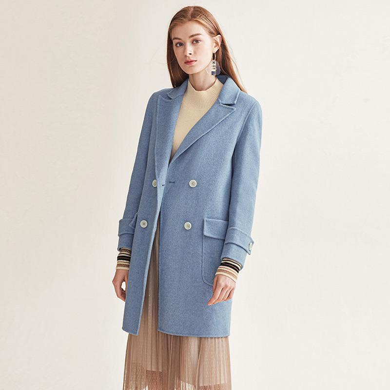 红袖/HOPESHOW双排扣中长款西装领羊毛大衣