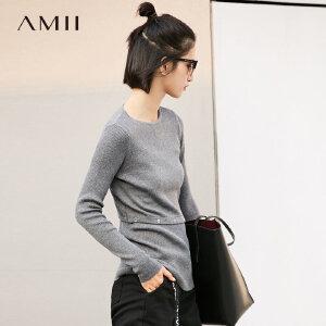 【大牌清仓 5折起】Amii[极简主义]时尚立体毛衣女2017冬季新纯色收腰拼接修身打底