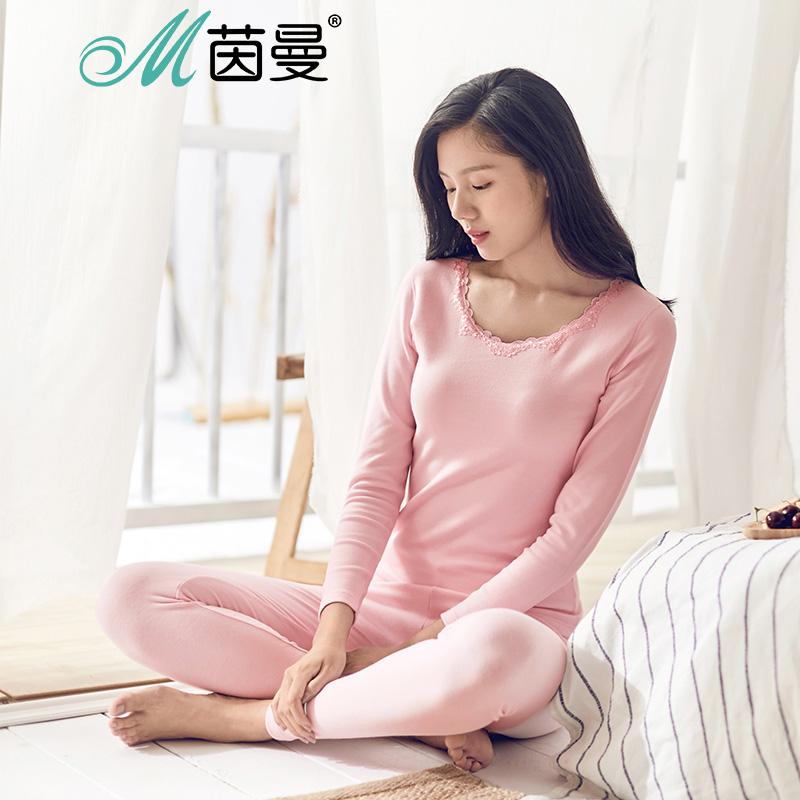 茵曼内衣 舒绒修身蕾丝花边领女士睡衣保暖套装打底衫 9874486391舒绒花边 保暖舒适