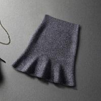 鱼尾裙秋款2017新款女秋 端庄大气半身裙高腰中长款气质 针织包裙 均码