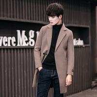 秋冬款风衣潮男中长款韩版修身型发型师外套帅气毛呢大衣英伦男装